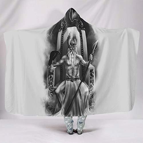 Wandlovers Disfraz vikingo de Odin Speer con dos dragones impresos, acogedor, con capucha, color blanco, 130 x 150 cm