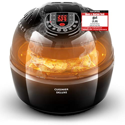 CUISINER Heißluftfritteuse 2020 Neuheit 1400W - Perfekte Pommes und knusprige Brathähnchen mit DREHSPIEß und DREHKORB zaubern I heissluftfriteuse heissluft fritteusen heißluft fritteuse fritöse