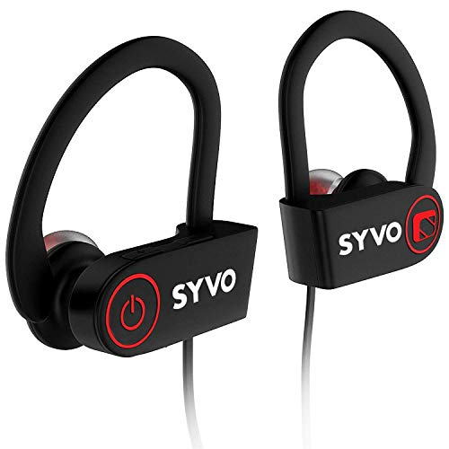 Syvo Flame Wireless Bluetooth Earphones with Microphone IPX7 Waterproof Sports Design with Carry Case, HD Sound, Super Bass (Black)