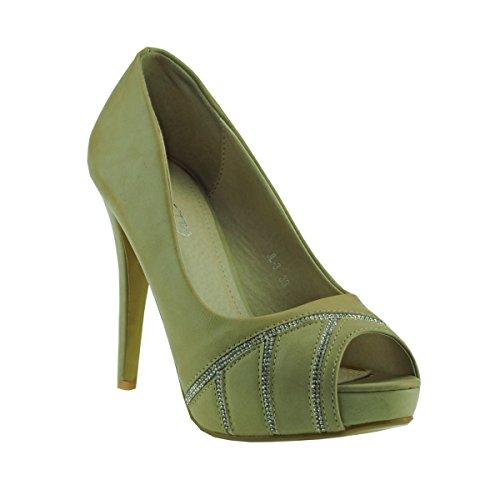 Fashion4Young 20040 Damenschuhe Peeptoes Pumps Plateau High Heels Party Stilettos (EUR 37, Khaki)