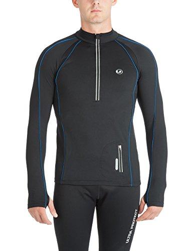 Ultrasport Herren Running Shirt Jimi, Schwarz/Blau, M