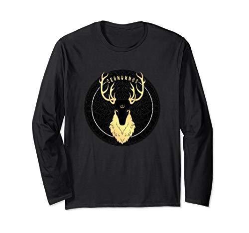 Cernunnos Celtic Pagan Horned Stag Forest God with Pentagram Long Sleeve T-Shirt