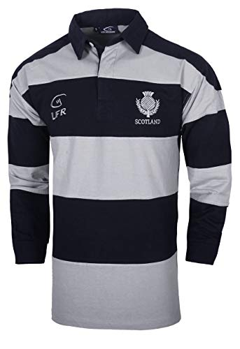 Scotland Hooped Grey and Navy Long Sleeve Rugby Shirt (Medium)