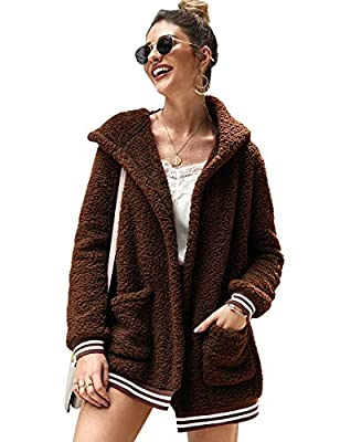 LOMON Women Fleece Hooded Coat Open Front Long Sleeve Fuzzy Sherpa Loose Winter Jacket Outwear with Pockets(Brown,L)
