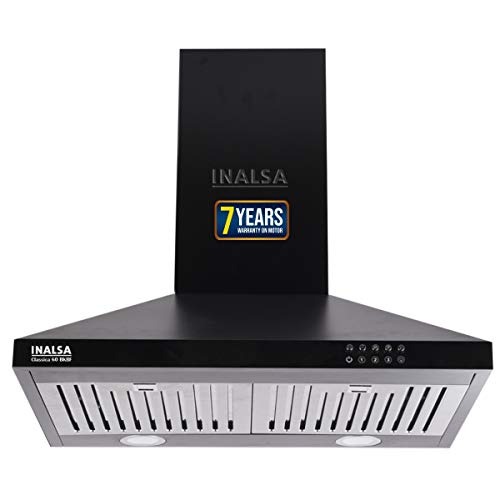 Inalsa 60 cm 1150 m³/hr Pyramid Chimney Classica 60BKBF with SS Baffle Filter/Push Button Control (Black)