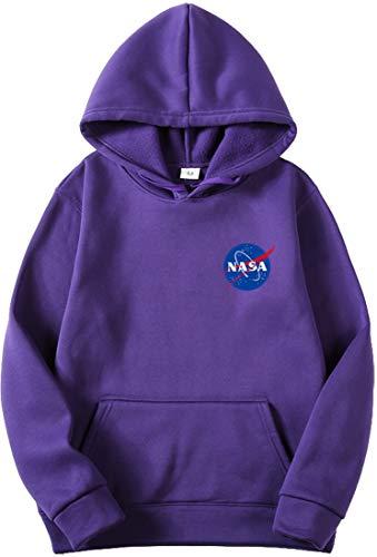 OLIPHEE Felpe con Cappuccio Tinta Unita con Logo di NASA Maglione Casuale per Ragazzi e Uomo A-zi-1 M