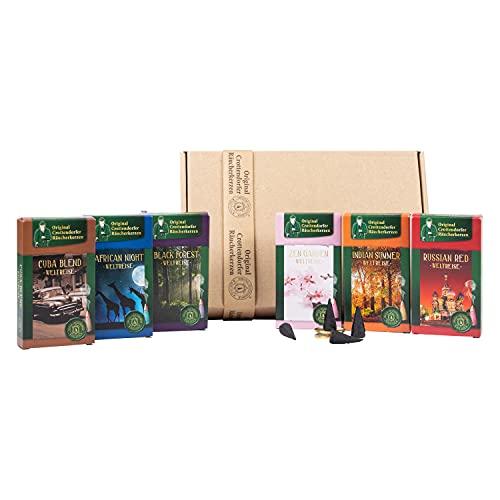Crottendorfer Coni di incenso – tutte le fragranze del mondo viaggio – in confezione regalo con piatto in ottone – 6 diverse fragranze (6 x 20 pezzi)
