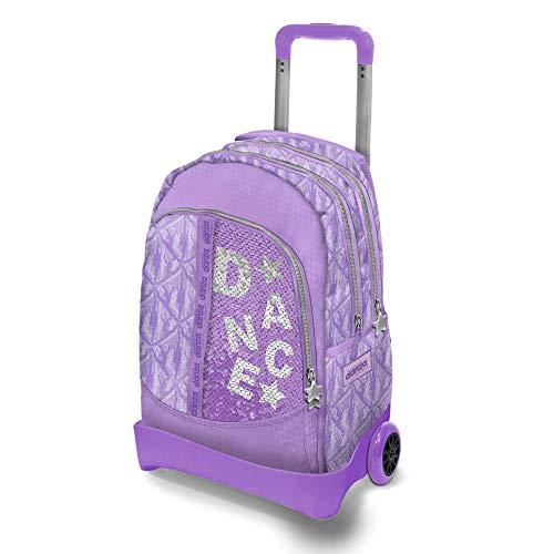 DIMENSIONE DANZA SISTERS, Zaino scuola con paillettes lilla, trolley bambina spazioso con 2 ruote singole, spallacci imbottiti e tasche laterali, zaino impermeabile, Dimensioni 54x37,5x25 cm