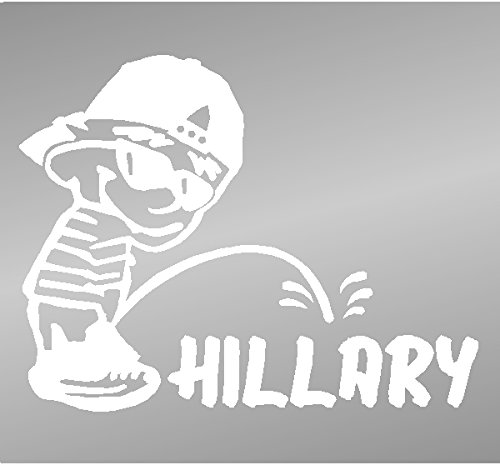 "Piss On Hillary President 6"" Window Sticker Decal – White"