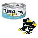 soxo Damen Herren Lustige Socken Geschenkdose Bunte Unisex Socken aus Baumwolle mit witzigen Motiven, Thunfisch Größe 40-45EU