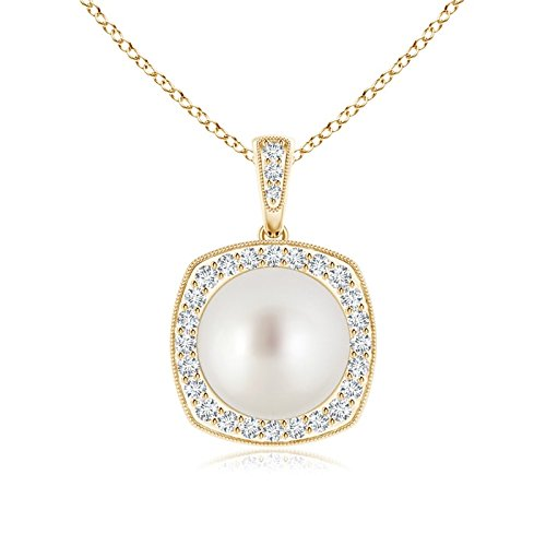 milgrain-edged South Sea Cultured Pearl vintage collana con pendente con diamante Halo e Oro giallo, cod. ANG-P-SP1004SSPRD-YG-AAA-10