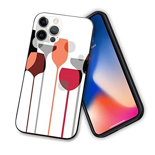 Carcasa para iPhone 12 de 6,1 pulgadas, diseño abstracto de copas de vino con lunares y bebidas alcohólicas, diseño moderno y flexible de TPU, color rojo, gris y negro