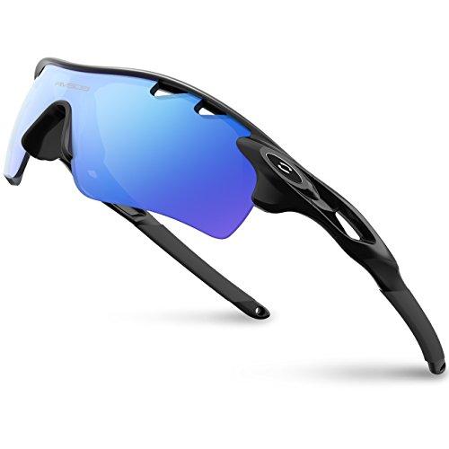 RIVBOS(リバッズ)RBK0801 スポーツサングラス 偏光レンズ ロードバイク 自転車用 uv400 紫外線カット メンズ レディース ユニセックス適用 サングラス (TR90 ブラック アイス レンズ)