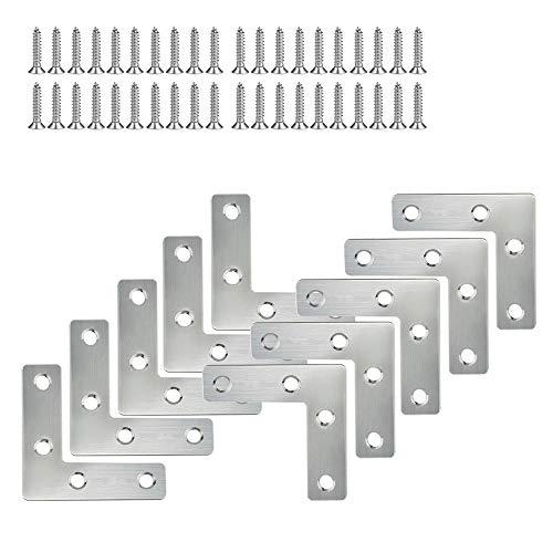 SENDILI 5/10 Piezas Escuadras de Angulo de Acero Inoxidable - Soporte de ángulo 90 Grado forma de L Refuerzo de Fijación, 50 * 50mm