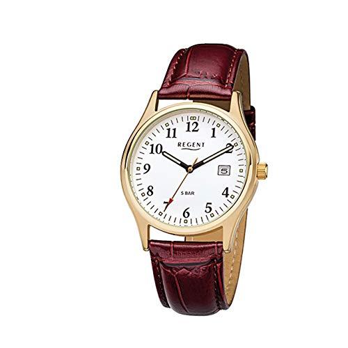 Regent Herren-Armbanduhr Elegant Analog Leder-Armband rot braun Quarz-Uhr Ziffernblatt weiß URF1024