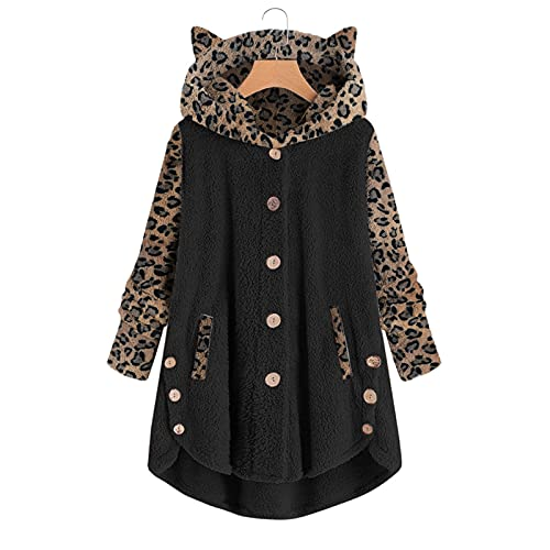 OutTop Sherpa Hooded Pullover for Women's Fall Winter Fuzzy Cozy Fleece Plus Size Button Warm Hoodie Sweater Outwear (#02-Black, XXXXXL)