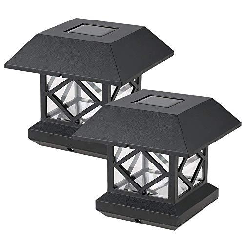 2 PCS Solaire Poteau De Pont Cap Lumières Clôtures Carrées, Éclairage De Jardin Décoratif Carré Pont Cap Lumières Imperméables Pour Jardin Extérieur Patio