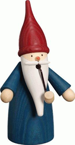 Seiffener Volkskunst German Incense Smoker gnome Blue, Height 16 cm / 6 inch, Original Erzgebirge SV 12301/2