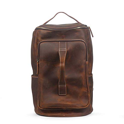 LSNLNN Bags,First Layer of Leather Men's Leather Shoulder Bag Mountaineering Backpack Shoulder Diagonal Travel Luggage Bags 29 X 25 X 44Cm Colorful,Brown