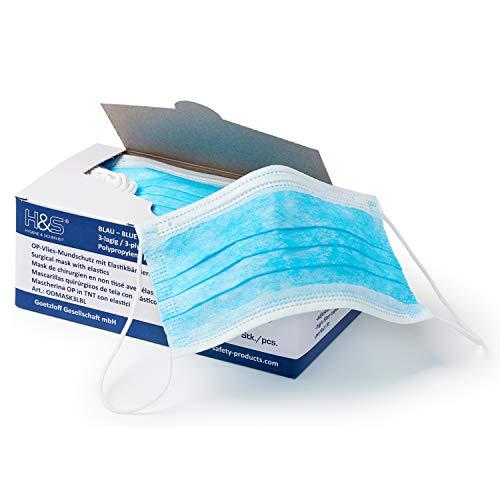Mundschutz (OP Vlies-Mundschutz) 50 Stück-Packung von ISC H&S mit Elastikband in Komfortlänge, 3-lagig, 100% PP, mit Nasenbügel, glasfaserfrei, latexfrei (3-lagig blau)