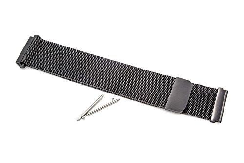 vhbw Ersatz Armband passend für Pebble 2 Watch, Time, Time Steel, Watch Fitness Uhr, Smart Watch - 26cm Edelstahl schwarz Magnetverschluss
