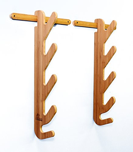 Grassracks Bamboo Horizontal Wall-Mounted Ski Storage Rack Hallsteiner Quad (3-4 Pairs of Skis,...