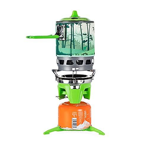 Quemador de estufa de gas al aire libre Sistema de cocina portátil con intercambiador de calor, olla para acampar, senderismo, cocina de gas (color: verde)