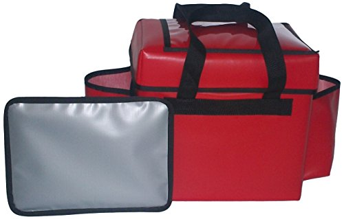 """TCB Insulated Bags FC-3-Red Insulated Food Service Bag, Holds 5 Meals, 12"""" x 14.5"""" x 16.5"""", Large, Red"""