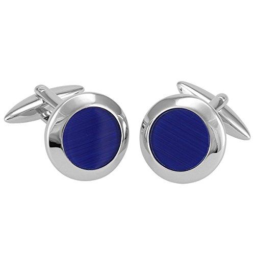 Manschettenknöpfe G.CHABROLLE, silberfarben / Katzenauge blau, im Etui, 380