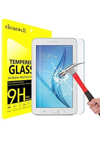 Galaxy Tab E Lite 7.0 Screen Protector, ELECNEWELL 0.26mm Premium Tempered Glass Screen Protector for Samsung Galaxy Tab E/3 Lite 7.0 SM-T110 Bubble-Free HD Anti-Scratch Anti-Fingerprint