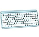 UBOTIE Portable Bluetooth Colorful Computer Keyboards, Wireless Mini Compact Retro Typewriter Flexible 84Keys Design Keyboard (Blue-White)