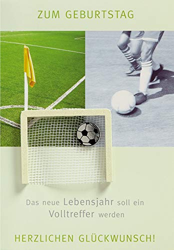 Verjaardagskaart Lifestyle - voetbal, poort - 11,6 x 16,6 cm