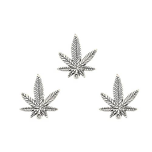 JIHUOO 30 piezas de 38 x 33 mm de aleación tibetana de hojas de arce, colgante de hoja de marihuana para manualidades, pendientes, pulseras, collares y joyas