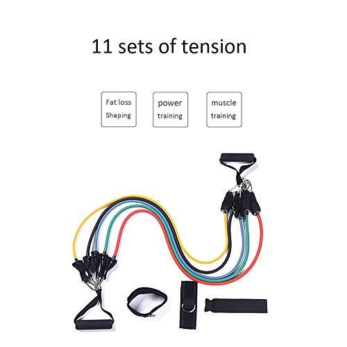 CFmoshu 11 Stück/Set Pull Rope Fitness Übungen Widerstandsbänder Latexschläuche Pedal-Übung Körper Für Ganzkörperübungen Überall Verwenden, Tragetasche Für Yoga, Pilates