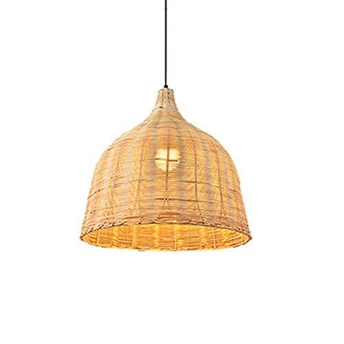 Lámpara colgante de bambú Tejido a mano Retro Colgante Luz Pastoral Ratán Araña creativa para sala de estar Restaurante Island Bar Cafe
