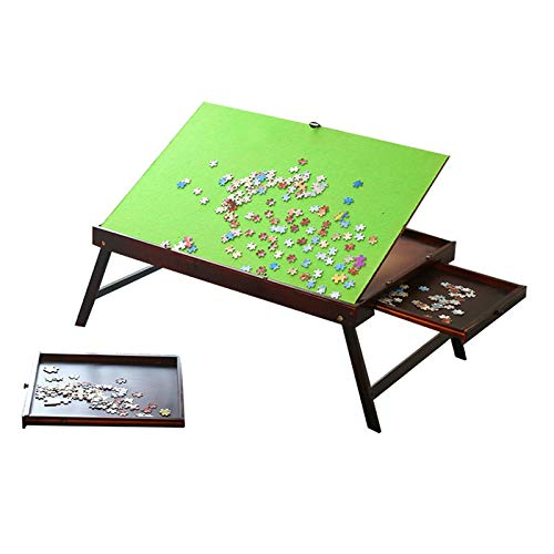 Wooden Jigsaw Puzzle Table for Adults & Kids, Collapsible Jigsaw Puzzle Table Multifunction Tilting Table,Portable Table for Puzzle Games with 2 Storage Drawers & Cover Puzzle Accessories -1000 Pcs