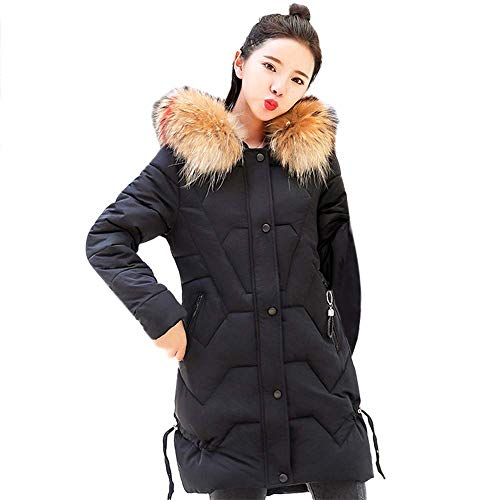 GOUPPER Vrouwen Dames Capuchon Bovenkleding Warm Winter Jas Lange Dikkere Bontkraag Katoen Parka Slim Parka Jas