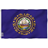 Anley Fly Breeze 3x5 Foot New Hampshire State Flag - Vivid Color and Fade Proof - Canvas Header and Double Stitched - New Hampshire NH Flags Polyester with Brass Grommets 3 X 5 Ft
