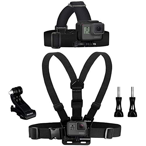 Wealpe Brustgurt Halterung Brusthalterung Kopfgurt Kopfband Halterung Kompatibel mit GoPro Hero 9, 8, 7, Max, Fusion, Hero (2018), 6, 5, 4, Session, 3+, 3, 2, 1, DJI Osmo, Xiaomi Yi Kameras