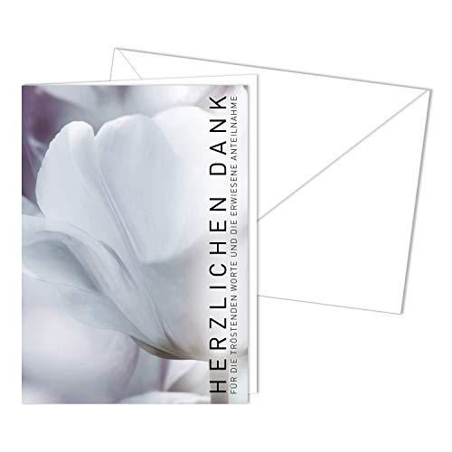 15er Set Trauer-Danksagungskarten mit Umschlag I DIN A6 I Trauerkarten ohne Innentext I Modern Danke sagen für die Anteilnahme I Blume I dv_477