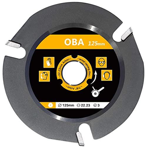 """Hoja de sierra de carburo de 125 mm, OBA amoladora angular de 5"""" hoja de sierra circular para cortar madera,talla de madera, disco amoladora madera,3 dientes, 22,2 mm de diámetro"""