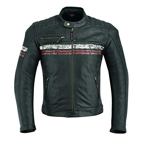 Giacca da moto in pelle da uomo, con protezioni armour, stile vintage consumato, colore nero, DC-2811A