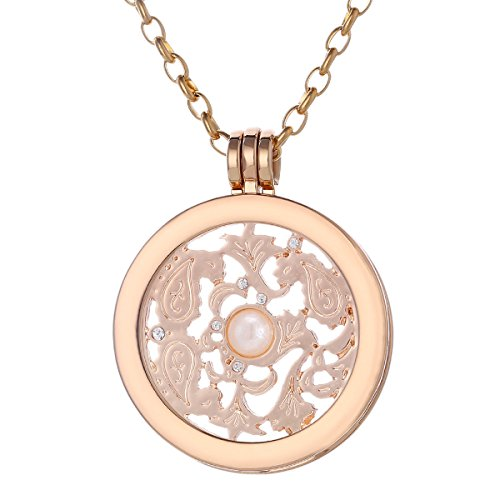 Morella Collana Donna 70 cm Acciaio Inossidabile Oro con Coins Moneta amuleto Ciondolo Rotondo 33 mm placca Rotonda Simbolo Vento Oro Rosa in Sacchetto di Velluto