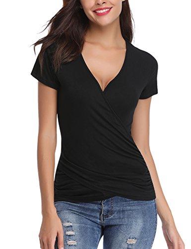 Abollria Damen V Ausschnitt Shirt Figurbetonte Bluse in Wickeloptik Kurzarm Stretch Sommer Top