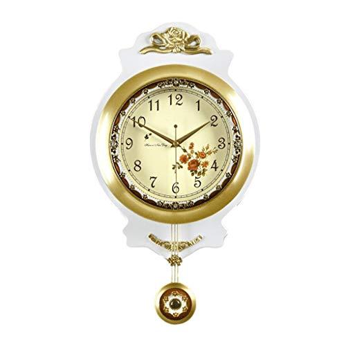 Gymqian Reloj de Estilo Europeo Pared 20 Pulgadas de Latón Columpio Péndulo Grande Sala de Estar Silenciosa Cuarzo Moderno Simple Rural Moda/Blanco