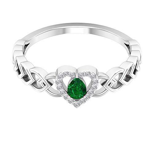 Anillo en forma de corazón, anillo de halo de diamante, anillos de promesa única para ella 14K Oro blanco