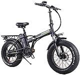 Leifeng Tower Bicicletas eléctricas plegables de alta velocidad de 20 pulgadas, 48V15A todo terreno Bicicletas 4.0 freno de disco doble neumático gordo bicicleta ciclismo al aire libre