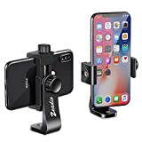 Zeadio Tripod Smartphone Mount, Cell Phone Holder Adapter, Selfie Stick Monopod Adjustable Clamp, Vertical and Horizontal Swivel Bracket, Fits for iPhone, Samsung, Huawei and All Phones