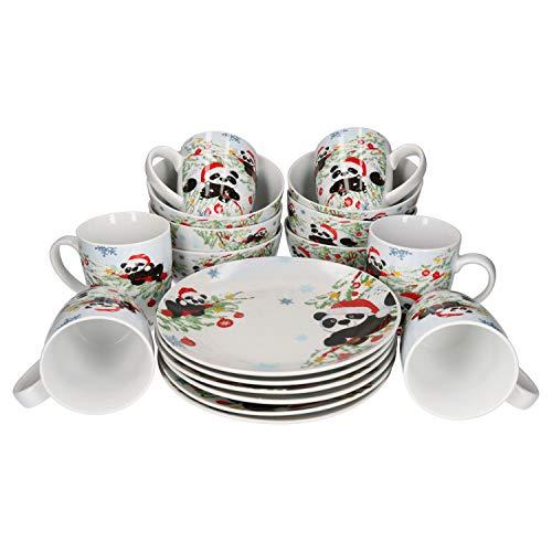Van Well, servizio da colazione natalizio con tazze, 370 ml, piatto Ø 20 cm e ciotole da 600 ml, servizio di Natale da 18 pezzi, porcellana di Natale, set da 6 persone