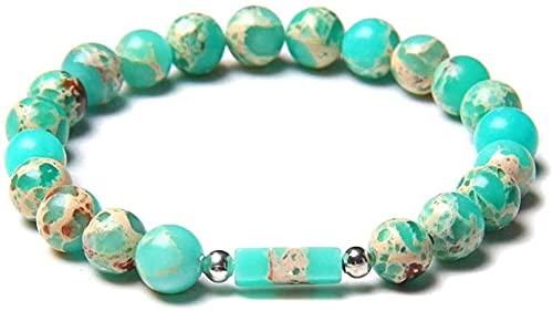 Pulsera de Feng Shui 7 Chakra Natural Stone Bead Aqua Bangle Turquoise Pulsera Elástica Yoga Boho Lucky Best Friend Jewelry para Hombres Damas